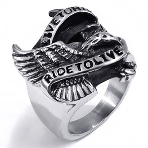 GUNGNEER 2 Pcs American Eagle Motorcycle Stainless Steel Biker Ring Jewelry Set Men Women