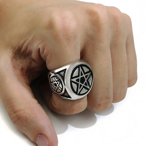 GUNGNEER Celtic Wicca Pagan Star Pentagram Pentacle Pendant Necklace Ring Jewelry Set Men Women