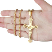 Load image into Gallery viewer, GUNGNEER Christian Cross Pendant Necklace Stainless Steel Jewelry Accessory For Men Women