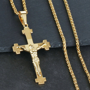 GUNGNEER Christian Cross Pendant Necklace Stainless Steel Jewelry Accessory For Men Women