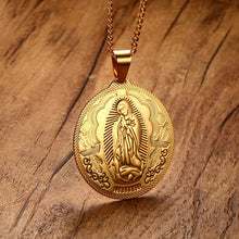 Load image into Gallery viewer, GUNGNEER Stainless Steel Virgin Mary Maria Miraculous Medal Pendant Necklace Catholic Jewelry