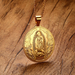 GUNGNEER Stainless Steel Virgin Mary Maria Miraculous Medal Pendant Necklace Catholic Jewelry