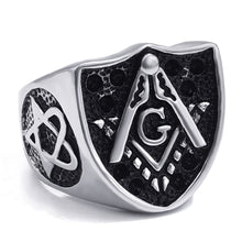 Load image into Gallery viewer, GUNGNEER Masonic Ring Multi-size Stainless Steel Mason Biker Signet Ring For Men