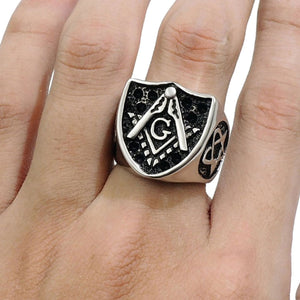 GUNGNEER Mason Biker Signet Ring For Men Leather Rope Chain Necklace Jewelry Set