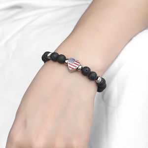 GUNGNEER Men Women Natural Stone Love USA American Flag Heart Couple Bracelet Patriotic Jewelry