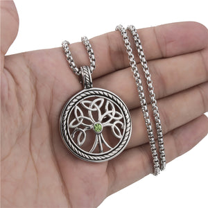GUNGNEER Stainless Steel Celtic Tree of Life Pendant Necklace Infinity Ring Jewelry Set