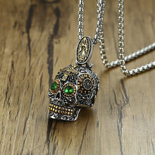 Load image into Gallery viewer, GUNGNEER Mexican Sugar Skull Green Eye Pendant Necklace Ring Stainless Steel Biker Jewelry Set