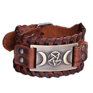 GUNGNEER Wicca Pentagram Moon Bracelet Leather Amulet Bangle Pendant Necklace Jewelry Set