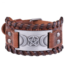 Load image into Gallery viewer, GUNGNEER Wicca Pentagram Moon Bracelet Leather Amulet Bangle Pendant Necklace Jewelry Set