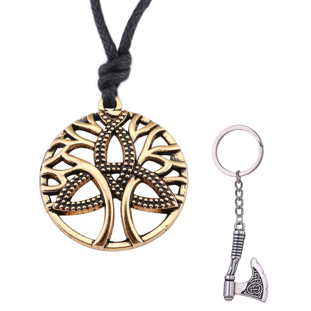 GUNGNEER Celtic Triquetra Tree of Life Pendant Necklace Axe Key Chain Jewelry Set Men Women