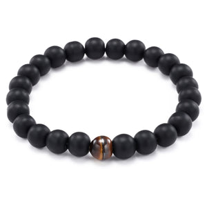 HoliStone Natural Black Matte and Tiger Eye Stone Stretch Bracelet Lucky Charm for Women and Men ? Anxiety Stress Relief Yoga Meditation Energy Balancing Bracelet for Women and Men