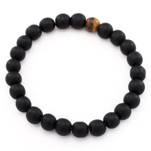 Load image into Gallery viewer, HoliStone Natural Black Matte and Tiger Eye Stone Stretch Bracelet Lucky Charm for Women and Men ? Anxiety Stress Relief Yoga Meditation Energy Balancing Bracelet for Women and Men