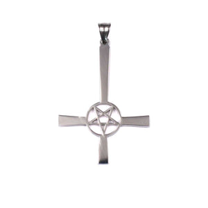 GUNGNEER Stainless Steel Pentagram Inverted Cross Necklace Bracelet Jewelry Set