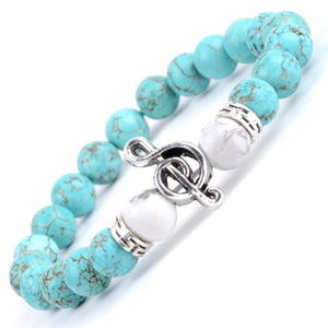 HoliStone Natural Blue Turquoises Stone Beaded Charm Bracelet with Musical Note for Women ? Yoga Meditation Healing Balancing Energy Bracelet