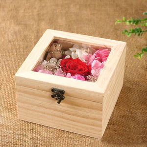 2TRIDENTS Wooden Rectangular Jewelry Box - Decorations Glass Gift Holder Jewelry Storage Box for Women