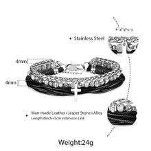 Load image into Gallery viewer, GUNGNEER Cross Charm Bracelet Multilayer Rosary Rope Chain Jesus Jewelry For Men Women