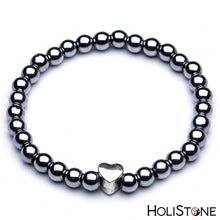 Load image into Gallery viewer, HoliStone Black Shungite Natural Stone Charm Bracelet ? Anxiety Stress Relief Yoga Beads Bracelets Chakra Healing Crystal Bracelet for Women and Men