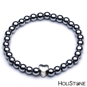 HoliStone Black Shungite Natural Stone Charm Bracelet ? Anxiety Stress Relief Yoga Beads Bracelets Chakra Healing Crystal Bracelet for Women and Men
