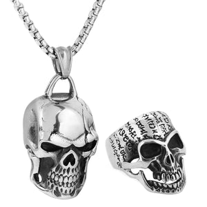 GUNGNEER Punk Smooth Middle Knuckle Paver Skull Necklace Rings Stainless Steel Jewelry Set