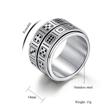 Load image into Gallery viewer, GUNGNEER Stainless Steel Punk Rotatable Double Lucky Dice Spinner Ring Casino Jewelry Men Women