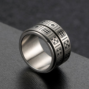 GUNGNEER Stainless Steel Punk Rotatable Double Lucky Dice Spinner Ring Casino Jewelry Men Women