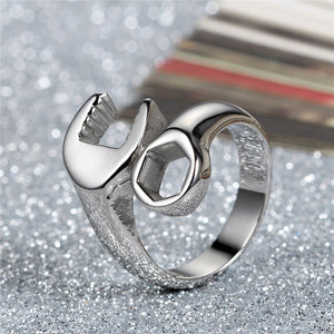 GUNGNEER Biker Mechanic Wrench Stainless Steel Punk Style Ring Cross Hoop Earrings Jewelry Set