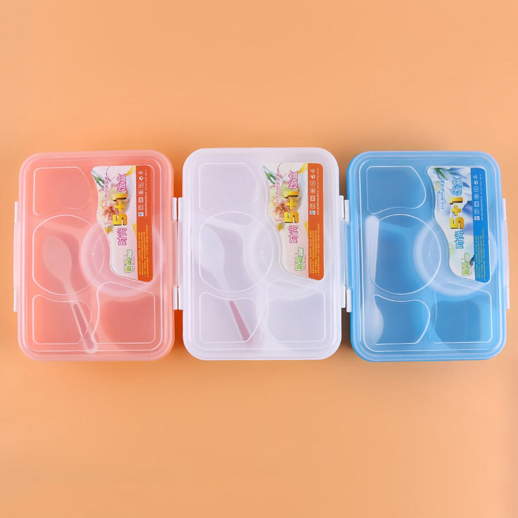 2TRIDENTS Five-part Microwave Lunch Box Food Storage for Children School Office Picnic Camping (Blue)