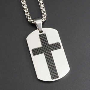 GUNGNEER God Cross Dog Tag Necklace Christ God Jewelry Accessory Gifts For Men Women