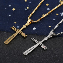 Load image into Gallery viewer, GUNGNEER Baseball Bat Cross Necklace Stainless Steel Jewelry Accessory For Men Women