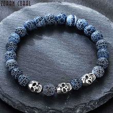Load image into Gallery viewer, HoliStone Natural Lava Stone with Punky Skull Beaded Bracelet for Women and Men