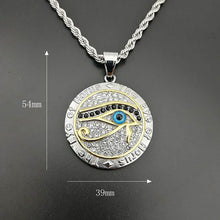 Load image into Gallery viewer, GUNGNEER Stainless Steel Egyptian Pyramid Eye of Horus Necklace Bike Chain Bracelet Jewelry Set