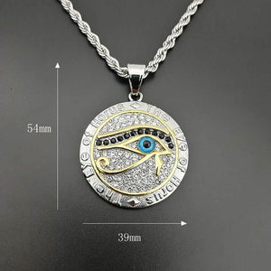 GUNGNEER Stainless Steel Egyptian Pyramid Eye of Horus Necklace Bike Chain Bracelet Jewelry Set