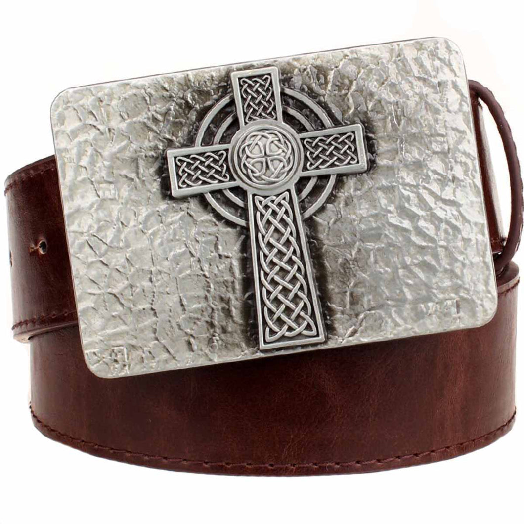 GUNGNEER Irish Celtic Knot Cross Trinity Square Leather Belt Jewelry Accessories Men Women