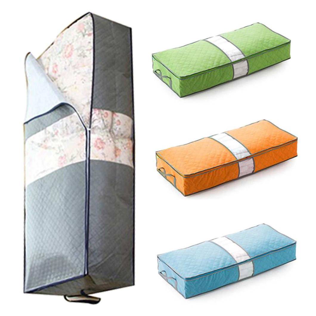 2TRIDENTS 2 Pcs Non-Woven Under Bed Storage Bag Closet, Shelves for Clothes, Pillow, Blankets (Blue)