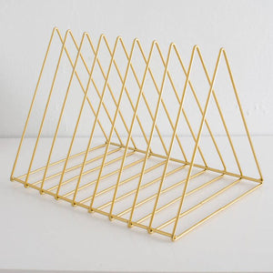 2TRIDENTS Office Magazine Bookshelf Gold 10.2x7.2x7.3inches Rack Holder Book Stylish Decoration (Gold, M)