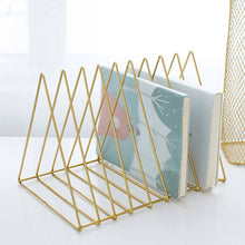 Load image into Gallery viewer, 2TRIDENTS Office Magazine Bookshelf Gold 10.2x7.2x7.3inches Rack Holder Book Stylish Decoration (Gold, M)