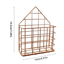 Load image into Gallery viewer, 2TRIDENTS Magazine Rack Wall Mounted Rose Gold 5.7x2.17x7.28inches Storage Basket Decoration