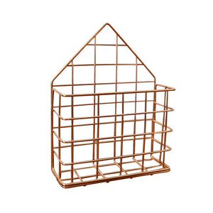 2TRIDENTS Magazine Rack Wall Mounted Rose Gold 5.7x2.17x7.28inches Storage Basket Decoration