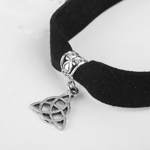 GUNGNEER Triquetra Trinity Celtic Knots Charm Choker Stainless Steel Jewelry for Women