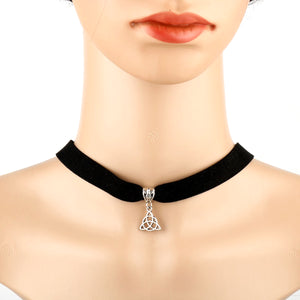 GUNGNEER Triquetra Trinity Celtic Knots Charm Choker with Key Chain Jewelry Set Women