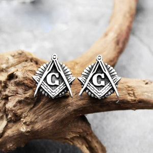 GUNGNEER Masonic Earrings Stainless Steel Free Mason Past Master Accessories For Men