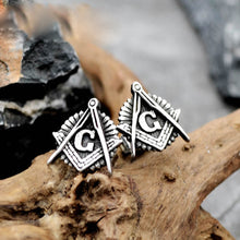 Load image into Gallery viewer, GUNGNEER Masonic Earrings Stainless Steel Free Mason Past Master Accessories For Men