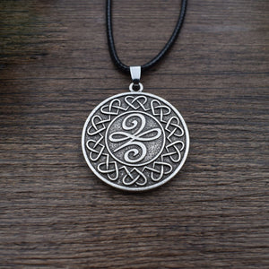 GUNGNEER Celtic Irish Trinity Knot Pendant Necklace Stainless Steel Jewelry Leather Rope Chain