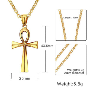 GUNGNEER Key To Life Egypt Cross Ankh Stainless Steel Necklace Rotatable Chain Ring Jewelry Set
