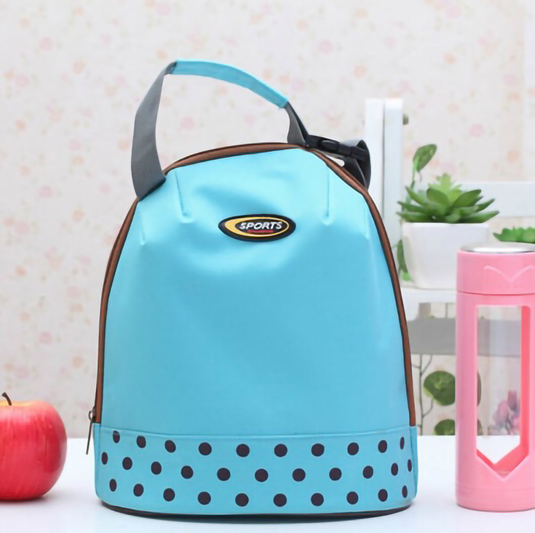 2TRIDENTS Kid Insulated Lunch Bag Multicolor Portable Hand Carry Food Bag For School Picnic (Blue)