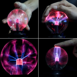 2TRIDENTS Plasma Ball Magic Moon Lamp USB Electrostatic Sphere Light Bulb Touch Novelty Project Home Decoration (Red)