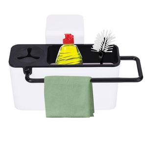 2TRIDENTS Sink Caddy Organizer with Dish Cloth Rod for Kitchen Bathroom Ideal Household Storage for Accessories