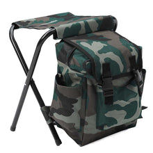 Load image into Gallery viewer, 2TRIDENTS Backpack Folding Stool - Shoulders Bag Folding Seat for Camping, Fishing, Tailgating, Hiking, Picnics, and More