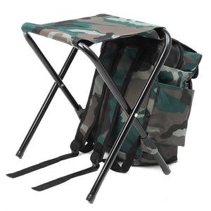 2TRIDENTS Backpack Folding Stool - Shoulders Bag Folding Seat for Camping, Fishing, Tailgating, Hiking, Picnics, and More