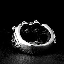Load image into Gallery viewer, GUNGNEER Stainless Steel Gang Fist Hip Hop Biker Skull Ring Bike Chain Bracelet Jewelry Set